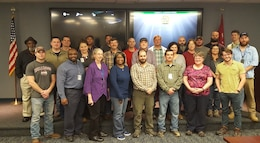 Attendees of the USACE Comprehensive Environmental Compliance Assessment Training Course pose for a group picture.  The course, hosted at ERDC Vicksburg on Jan. 23-26 provided a comprehensive approach to the Environmental Review Guide for Operations for Civil Works operations and other USACE projects from a policy, process, and practical perspective.