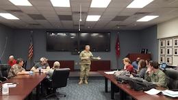 ERDC Commander Col. Bryan Green addresses questions from training participants.