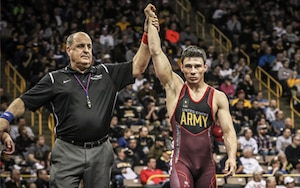 Ildar Hafizov of the U.S. Army, shown at the 2016 U.S. Olympic Team Trials, is one of the stars on the Army roster for the 2017 Armed Forces Championships. Photo by John Sachs, Tech-Fall.com