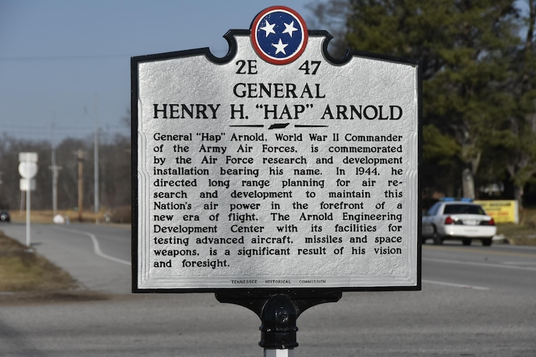 """Members of the Junior Force Council at Arnold Air Force Base reached out to the Tennessee Historical Commission about having the Gen. Henry """"Hap"""" Arnold sign, located on Wattendorf Highway toward Hillsboro, refurbished. Pictured is the sign after being sent to the fabricator to be repainted and repaired. (U.S. Air Force photo/Rick Goodfriend)"""