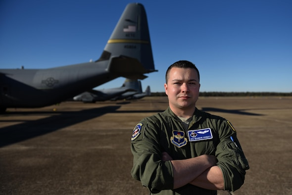 U.S. Air Force Senior Airman Brandon Vernatt, 62nd Airlift Squadron instructor loadmaster, was nominated as the Combat Airlifter of the Week, Feb. 22, 2017, at Little Rock Air Force Base, Ark. Vernatt displays the core value Excellence in All We Do through the way he prepares loadmasters for their operational squadrons. (U.S. Air Force photo by Airman 1st Class Kevin Sommer Giron)