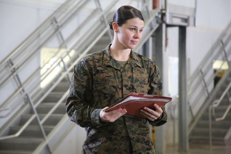 "1st Lt. Morgan White supervises her Marines during a squadron-wide gear inspection aboard Marine Corps Air Station Cherry Point, N.C., Feb. 6, 2017. White states that the training she has received in the Marine Corps helped develop her leadership and decision-making skills. ""The Marine Corps teaches you to make hard decisions,"" said White. ""When life throws us questions that we don't know the answer to, we've learned to quickly think on our feet."" White is the communications officer for Marine Wing Support Squadron 274, Marine Aircraft Group 14, 2nd Marine Aircraft Wing. (U.S. Marine Corps photo by Cpl. Mackenzie Gibson/Released)"