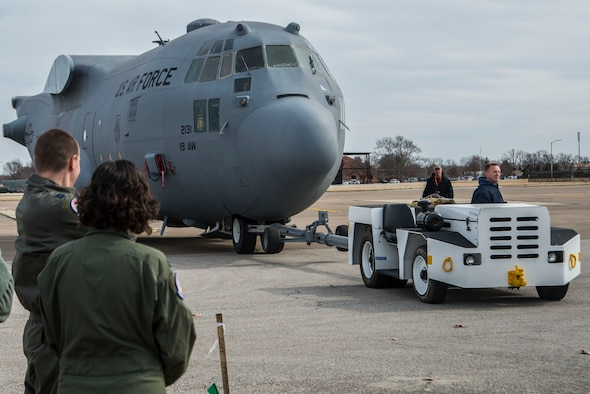 Contractors worked with the 375th Aeromedical Evacuation Squadron to help move a C-130 fuselage trainer, or FuT, which is a platform where aeromedical evacuation crews can perform 100 percent of readiness skills. It is an innovative, cost effective, improved training platform for total force AE and ground support personnel in terms of aircraft configuration familiarization and realistic, high-fidelity task training and mission simulation. (Photos by Senior Airman Tristin English).