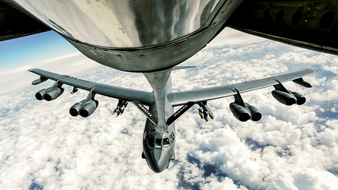 An Air Force B-52 Stratofortress refuels from a 340th Expeditionary Air Refueling Squadron KC-135 Stratotanker to support Operation Inherent Resolve, Feb. 15, 2017. The squadron extended the fight against Islamic State of Iraq and Syria terrorists by delivering fuel to U.S. Air Force F-16 Fighting Falcons, A-10 Thunderbolt IIs and a B-52 Stratofortress. Air Force photo by Senior Airman Jordan Castelan