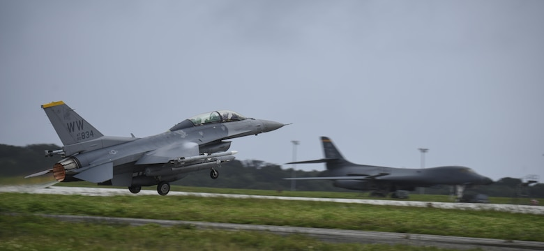 A U.S. Air Force F-16 Fighting Falcon assigned to the 14th Fighter Squadron, Misawa Air Base, Japan, takes off during Exercise Cope North 2017 at Andersen Air Force Base, Guam, Feb. 16, 2017. Beginning in 1978 as a quarterly bilateral exercise held at Misawa AB, Japan, Cope North was moved to Andersen AFB in 1999. Today, the annual exercise serves as a keystone event to promote stability and security throughout the Indo-Asia-Pacific by enabling regional forces to hone vital readiness skills critical to maintaining regional stability. (U.S. Air Force photo by Tech. Sgt. Richard P. Ebensberger/Released)