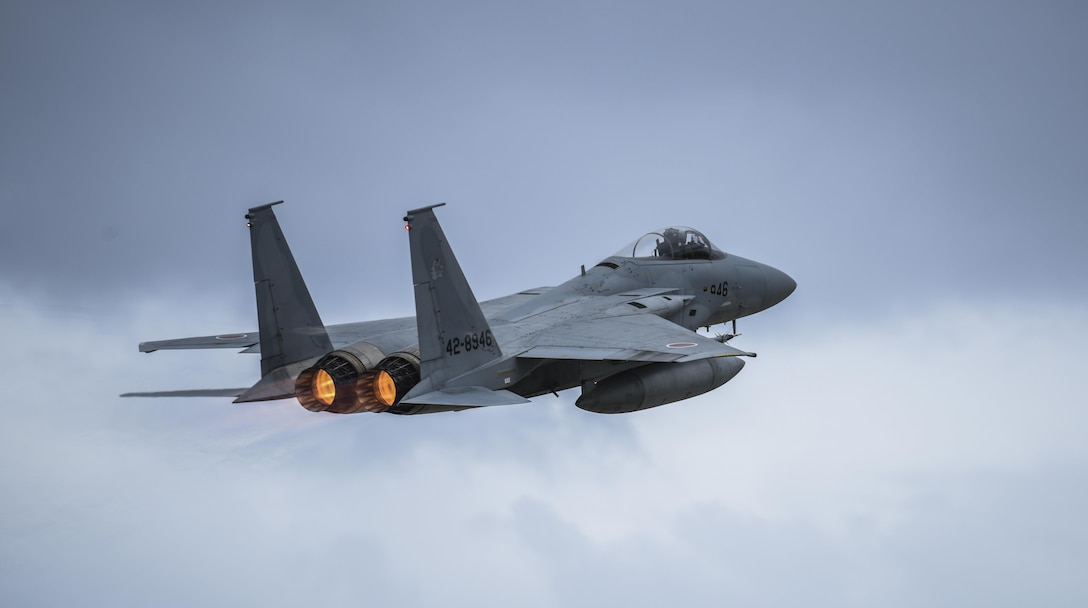 A Japan Air Self-Defense Force F-15MJ Eagle assigned to the 304th Squadron, Tsuiki Air Base, Japan, takes off during Exercise Cope North 2017 at Andersen Air Force Base, Guam, Feb. 16, 2017. The exercise is a long-standing exercise designed to enhance multilateral air operations between the U.S. Air Force, U.S. Navy, Japan Air Self-Defense Force and Royal Australian Air Force. (U.S. Air Force photo by Tech. Sgt. Richard P. Ebensberger/Released)