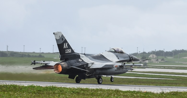 A U.S. Air Force F-16 Fighting Falcon assigned to the 18th Aggressor Squadron, Eielson Air Force Base, Alaska, takes off during Exercise Cope North 2017 at Andersen Air Force Base, Guam, Feb. 16, 2017. The exercise is designed to increase combat readiness between the United States, Australia and Japan, including fighter versus fighter air combat tactics training and air-to-ground strike mission training over the Farallon de Medinilla range 160 nautical miles north of Guam. (U.S. Air Force photo by Tech. Sgt. Richard P. Ebensberger/Released)
