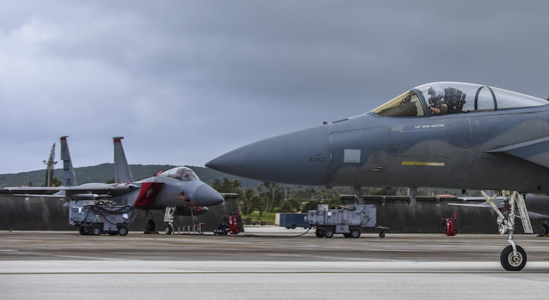 A U.S. Air Force F-15 Eagle assigned to the 67th Fighter Squadron, Kadena Air Base, Japan, taxis during Exercise Cope North 2017 at Andersen Air Force Base, Guam, Feb. 16, 2017. The exercise includes 22 total flying units and more than 1,700 personnel from three countries and continues the growth of strong, interoperable relationships within the Indo-Asia-Pacific Region through integration of airborne and land-based command and control assets. (U.S. Air Force photo by Tech. Sgt. Richard P. Ebensberger/Released)