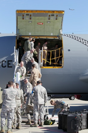170219-Z-NQ307-055 -- Airmen from the 127th Air Refueling Group unload a KC-135 Stratotanker upon arrival at Selfridge Air National Guard Base, Mich. on February 19th, 2017. Approximately 85 Airmen and three aircraft from the Michigan Air National Guard's 127th ARG returned from a 60 day deployment to the Central Command area of responsibility. (U.S. Air National Guard photo by TSgt. Rachel Barton)