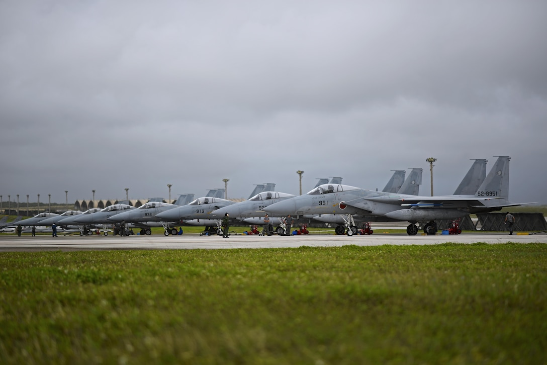 Japan Air Self-Defense Force F-15MJ Eagles assigned to the 304th Squadron, Tsuiki Air Base, Japan, sit on the flightline during Exercise Cope North 2017 at Andersen Air Force Base, Guam, Feb. 16, 2017. The exercise is a long-standing exercise designed to enhance multilateral air operations between the U.S. Air Force, U.S. Navy, Japan Air Self-Defense Force and Royal Australian Air Force. (U.S. Air Force photo by Airman 1st Class Christopher Quail/Released)