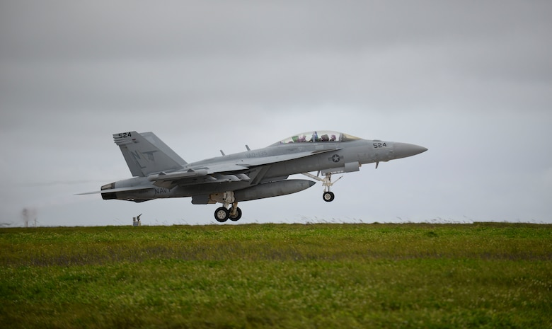 A U.S. Navy EA-18G Growler assigned to Electronic Attack Squadron 135, Misawa Air Base, Japan, takes off during Exercise Cope North 2017 at Andersen Air Force Base, Guam, Feb. 16, 2017. Cope North is a long-standing Pacific Air Forces-led exercise designed to enhance multilateral air operations between the U.S. Air Force, U.S. Navy, Japan Air Self-Defense Force and Royal Australian Air Force. (U.S. Air Force photo by Airman 1st Class Christopher Quail/Released)