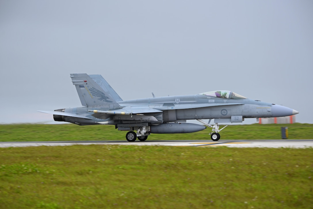 A Royal Australian Air Force F/A-18A Hornet assigned to No. 3 Squadron, Royal Australian Air Force Base, Williamtown, Australia, lands during Exercise Cope North 2017 at Andersen Air Force Base, Guam, Feb. 16, 2017. Cope North is a long-standing Pacific Air Forces-led exercise designed to enhance multilateral air operations between the U.S. Air Force, U.S. Navy, Japan Air Self-Defense Force and Royal Australian Air Force. (U.S. Air Force photo by Airman 1st Class Christopher Quail/Released)