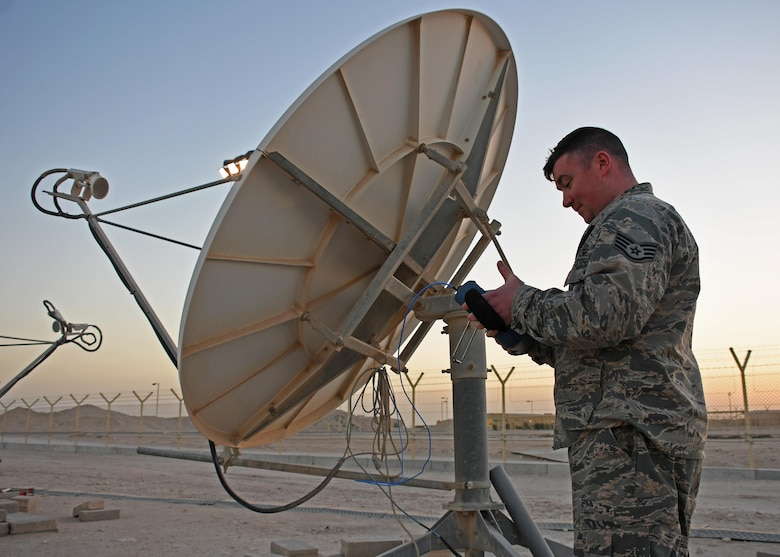 U.S. Air Force Staff Sgt. Chris Hayes, a Bounty Hunter crew chief with the 379th Expeditionary Operations Support Squadron, uses a control to locate a satellite in space at Al Udeid Air Base, Qatar, Jan. 30, 2017. Hayes supports Operation Silent Sentry, which provides defensive space capabilities for the U.S. Central Command area of responsibility. (U.S. Air Force photo by Senior Airman Miles Wilson)