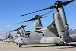 Two MV-22 Ospreys return after conducting training aboard Marine Corps Marine Corps Air Station New River, N.C., Feb. 9, 2017. The MV-22 Osprey has been an operational asset to the Marine Corps for over a decade. Typically, Osprey pilots conduct missions such as transporting external loads, aerial deliveries, low altitude tactics and putting troops on the ground. (U.S. Marine Corps photo by Cpl. Mackenzie Gibson/Released)