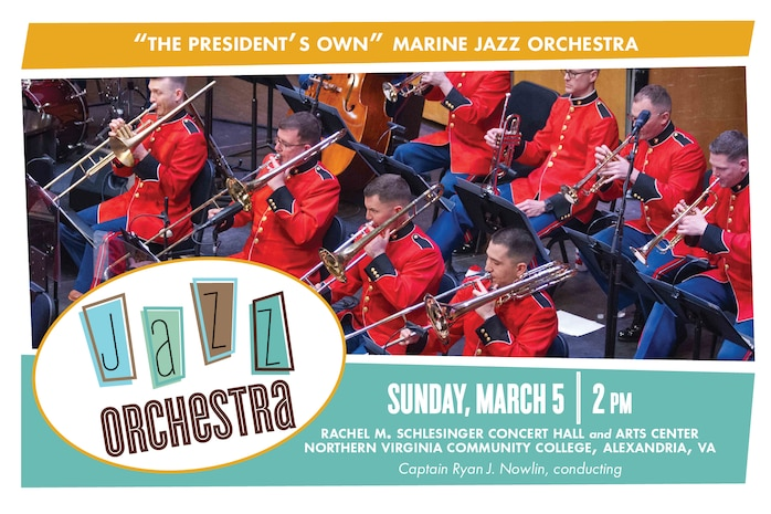 Come enjoy a performance by the Marine Jazz Orchestra at 2 p.m., Sunday, March 5, at Northern Virginia Community College's Schlesinger Concert Hall in Alexandria, Va. The program embraces some of the internationally popular big band classics that continue to delight and unite people across the decades and throughout the world. Performance selections include works by Leonard Bernstein, Duke Ellington, and former Marine Band arranger Sammy Nestico, as well as a new arrangement of Chick Corea's Spain by Mike Crotty. Admission and parking are free. A bass and piano duo will perform pre-concert music in the lobby beginning at 1:15 p.m.