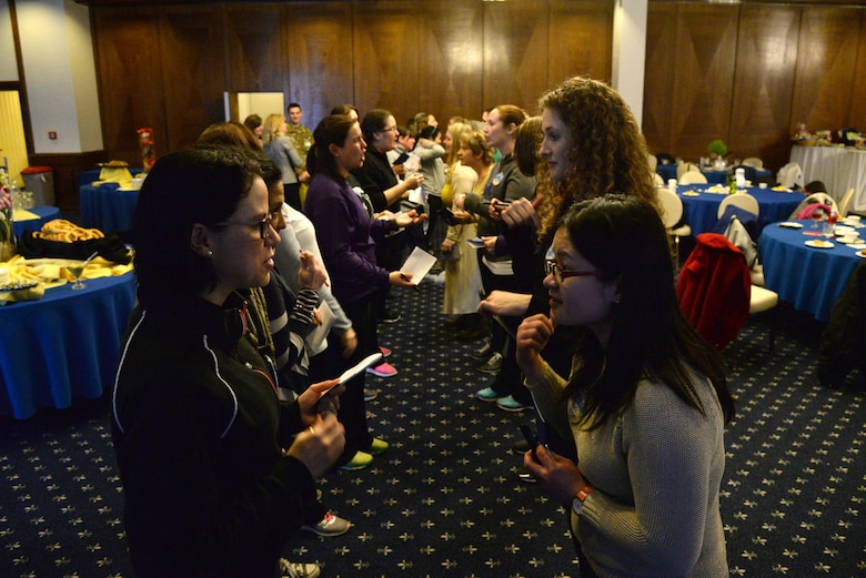 KMC spouses interact during the 86th Airlift Wing's SpouseFit event Feb. 23 at the Ramstein Officers' Club. The two-day event featured various activities. (U.S. Air Force photo by Airman 1st Class D. Blake Browning)