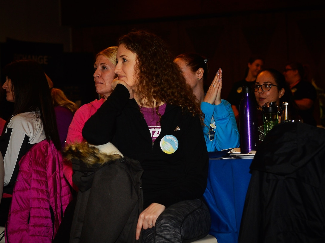Department of Defense spouses attend the 86th Airlift Wing's Spouse Fit event Feb. 22 on Ramstein. The two day event aimed to boost morale among DOD spouses and featured games, volunteer fairs, resiliency lessons, a self-defense demonstration and a yoga session.
