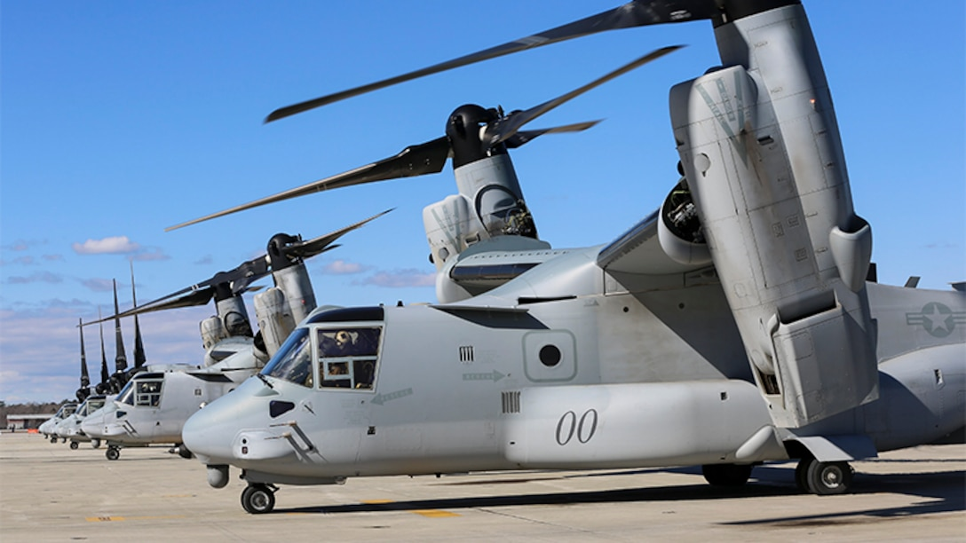 Two MV-22 Ospreys return after conducting training