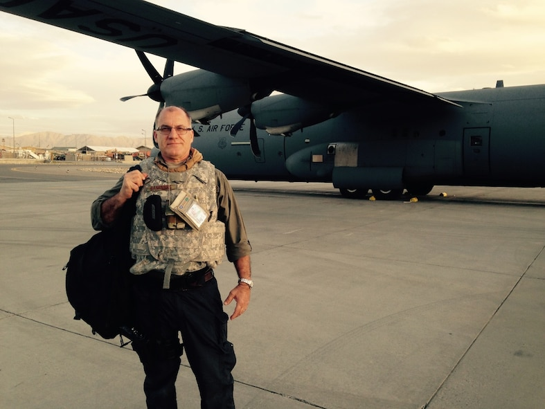 Greg Gangnuss on an airfield in Afghanistan during his March 2015 to April 2016 deployment.