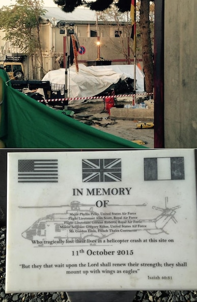 (Top) A tarp covers the mangled British Puma MK2 helicopter at the site of the crash on the compound of Camp Resolute Support in Kabul, Afghanistan, in the days following the Oct. 11, 2015, crash. (Below) Today, a plaque sits at the crash site honoring the memory of the five NATO service members killed.