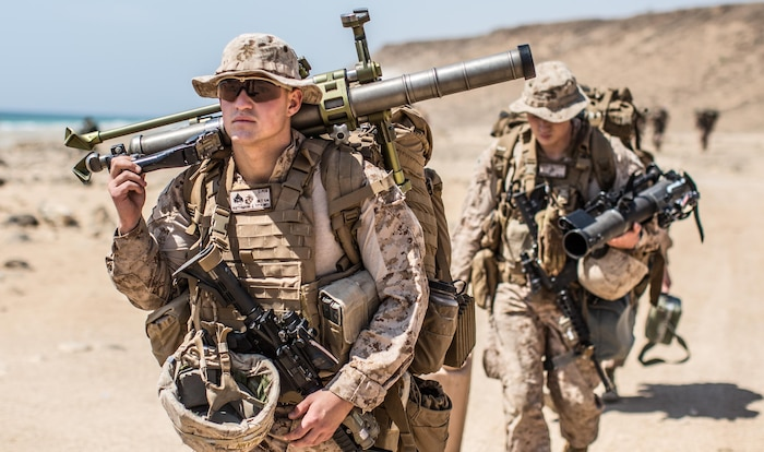 U.S. Marine Cpl. Johnathan Riethmann, a mortarman with Company A, Battalion Landing Team 1st Bn., 4th Marines, 11th Marine Expeditionary Unit, walks to a staging area at Senoor Beach, Oman, in preparation for Exercise Sea Soldier, Feb. 15. Sea Soldier 2017 is an annual, bilateral exercise conducted with the Royal Army of Oman designed to demonstrate the cooperative skill and will of U.S. and partner nations to work together in maintaining regional stability and security. USS Somerset, with the embarked 11th Marine Expeditionary Unit, is deployed in the U.S. 5th Fleet area of operations in support of maritime security operations designed to reassure allies and partners, preserve the freedom of navigation and the free flow of commerce and enhance regional stability.