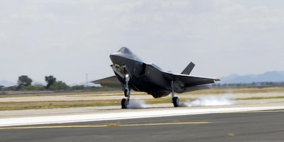 The Air Force's 100th F-35 Lightning II lands at Luke Air Force Base, Ariz., Aug. 26, 2016. The aircraft, designated AF-100, marked a milestone for the F-35 program. Air Force photo by Staff Sgt. Marcy Copeland