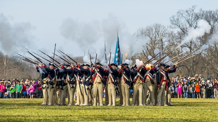 "Soldiers assigned to the 3rd U.S. Infantry Regiment, known as ""The Old Guard,"" perform a live-fire demonstration at George Washington's Mount Vernon, Va., Feb. 20, 2017. Army photo by Zane Ecklund"