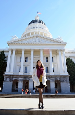 Patricia Fontanet stands in front of California State Capitol.