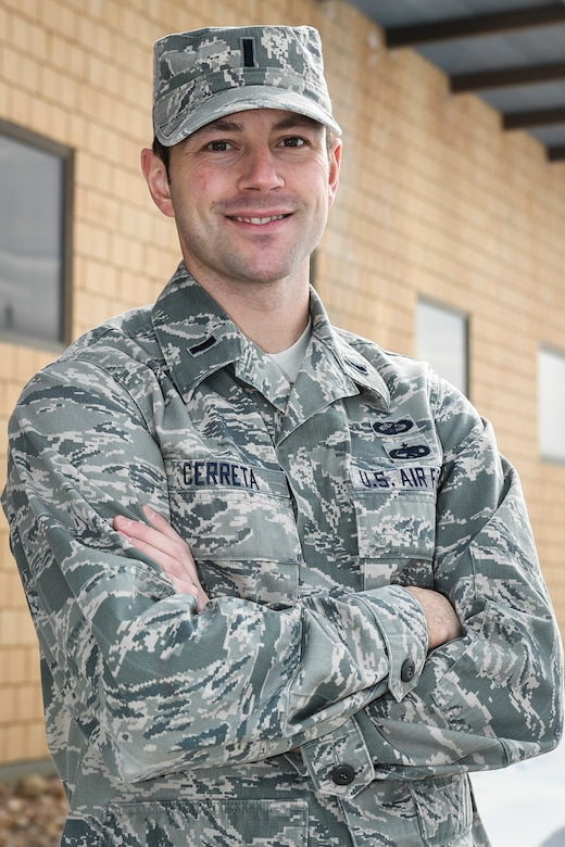 Air Force 1st Lt. Ken Cerreta poses in front of building 1515 at Hill Air Force Base, Utah. Cerreta is a program manager in the F-16 System Program Office. (Paul Holcomb/U.S. Air Force)