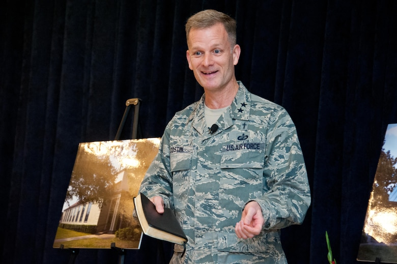 Maj. Gen. Dondi Costin, U.S. Air Force Chief of Chaplains, speaks to National Prayer Breakfast attendees at Maxwell Air Force Base, Feb. 23, 2017. The breakfast has been held since 1953. (US Air Force photo by Melanie Rodgers Cox/Released)