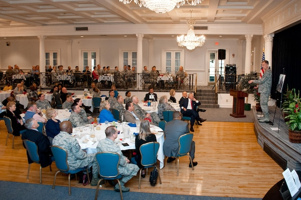 Maj. Gen. Dondi Costin, U.S. Air Force Chief of Chaplains, speaks to National Prayer Breakfast attendees at Maxwell Air Force Base, Feb. 23, 2017. Costin spoke about the importance of spiritual resiliency in the military. (US Air Force photo by Melanie Rodgers Cox/Released)