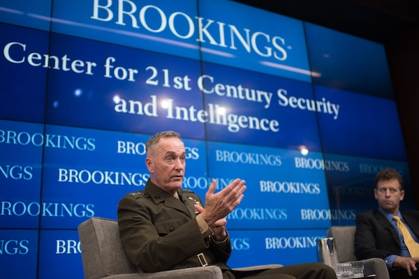 Marine Corps Gen. Joe Dunford, Jr., chairman of the Joint Chiefs of Staff, speaks at the Brookings Institution in Washington, Feb. 23, 2017. DoD photo by D. Myles Cullen