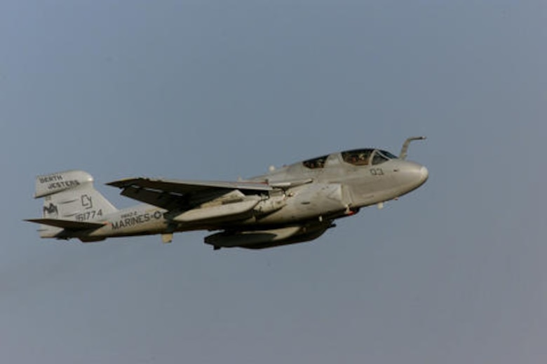 An EA-6B Prowler assigned to the VMAQ2 (Marine Tactical Electrical Warfare Squadron 2) stationed at Cherry Point Marine Corps Air Station, North Carolina flies by while participating in Cope Tiger 2002 at Wing 1 Air Base Korat, Thailand. Air forces from the United States, Thailand, and Singapore, as well as U.S. Marines will participate in Exercise Cope Tiger 02 in Thailand from January 14-25, 2002. Cope Tiger is an annual, multinational exercise in the Asia-Pacific region. More than 1,200 people will participate in the exercise, including approximately 600 U.S. service members and 600 service members from Thailand and Singapore. (U.S. Air Force photo by Tech. Sgt. Jeff Clonkey/Released)