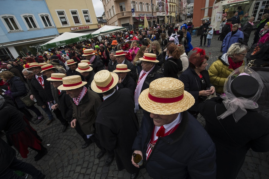 Attendees enjoy the festivities during a Fasching celebration in Wittlich, Germany, Feb. 23, 2017. More than 250 citizens attended the celebration inside the city's main square. (U.S. Air Force photo by Staff Sgt. Jonathan Snyder)
