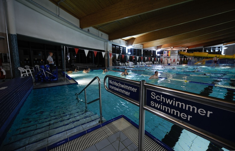 Swim class participants do exercises at the Aquatic Center on Ramstein Air Base, Germany, Feb. 14, 2017. Some of the students are swimming as participation in the seventh annual Kaiserslautern Military Community's 'Biggest Loser' challenge. (U.S. Air Force photo by Airman 1st Class Savannah L. Waters)