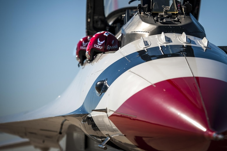 "Helmets rest on the side of an F-16D Fighting Falcon Feb. 17, 2017, at Moody Air Force Base, Ga. The U.S. Air Force Thunderbirds are known as the ""Ambassadors in Blue,"" and will be representing the Air Force during the Thunder Over South Georgia Air Show in October 2017, at Moody AFB. (U.S. Air Force photo/Airman 1st Class Lauren M. Sprunk)"
