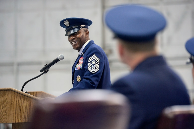 Chief Master Sgt. of the Air Force Kaleth O. Wright thanks former Chief Master Sgt. of the Air Force James A. Cody during their retirement and appointment ceremony on Joint Base Andrews, Md., Feb. 17, 2017. Cody retired after 32 years of service and was succeeded by Wright, the 18th Airman to hold the position. (U.S. Air Force photo/Andy Morataya)