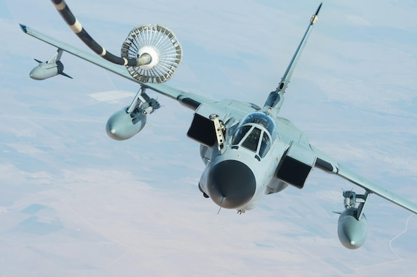 A German Tornado GR-4 receives fuel from a KC-10 Extender during a mission in support of Combined Joint Task Force-Operation Inherent Resolve over Iraq, Feb. 22, 2017.The KC-10 offloaded 126,000 pounds of fuel to multinational coalition aircraft working to weaken and destroy the Islamic State of Iraq and Syria operations in the Middle East region and around the world. (U.S. Air Force photo/Senior Airman Tyler Woodward)