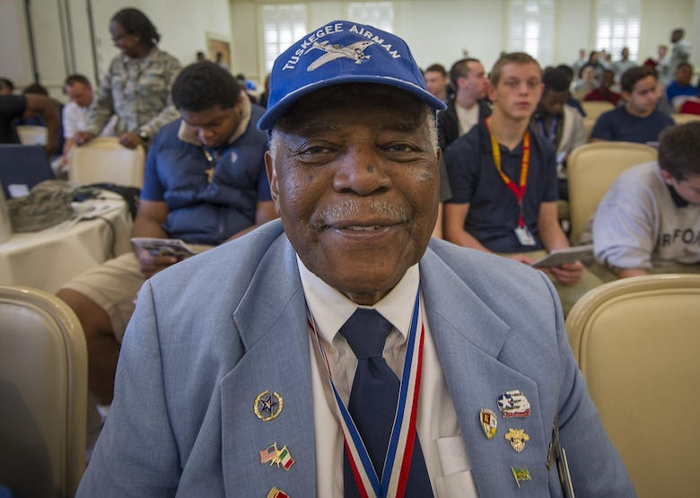 Former 2nd Lt. and original Tuskegee Airman, Dr. Eugene Richardson, Jr. awaits the guest speaker Feb. 23, 2017, the morning of the Tuskegee Airmen Career Day at Joint Base Charleston, S.C. More than 150 students from middle and high school boys from 17 Lowcountry school visited Joint Base Charleston Feb. 23, 2017, to learn about jobs in aviation as part of the second annual Tuskegee Airmen Career Day, hosted by the 315th Airlift Wing. The boys were able to learn about military and civilian careers in aviation by more than 15 different career fields. (U.S. Air Force photo by Senior Airman Tom Brading)