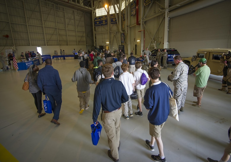 More than 150 students from middle and high school boys from 17 Lowcountry school visited Joint Base Charleston Feb. 23, 2017, to learn about jobs in aviation as part of the second annual Tuskegee Airmen Career Day, hosted by the 315th Airlift Wing. The boys were able to learn about military and civilian careers in aviation by more than 15 different career fields. (U.S. Air Force photo by Senior Airman Tom Brading)
