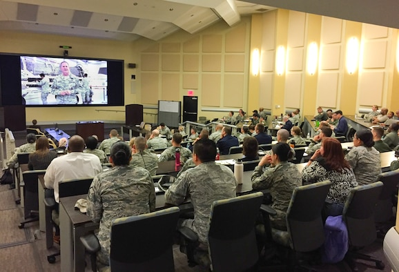 Airmen from Joint Base Andrews receive a briefing from Air Force Chief of Staff, Gen. David L. Goldfein, to kick-off a study on how to revitalize Air Force Squadrons Feb. 23, 2017. JB Andrews was chosen as the first base to participate in three-phase project to meet the Chief of Staff's number one focus area.