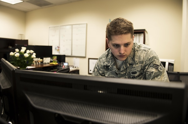 Senior Airman Colby Eubanks, 92nd communication Squadron, checks accountability Feb, 17, 2017, Fairchild Air Force Base. As an asset management technician, Eubanks provides support for hardware asset and software asset requests, reviews and makes decisions on unit purchase requests and researches to make decisions for software installation requests. (U.S. Air Force photo/ Airman 1st Class Sean Campbell)