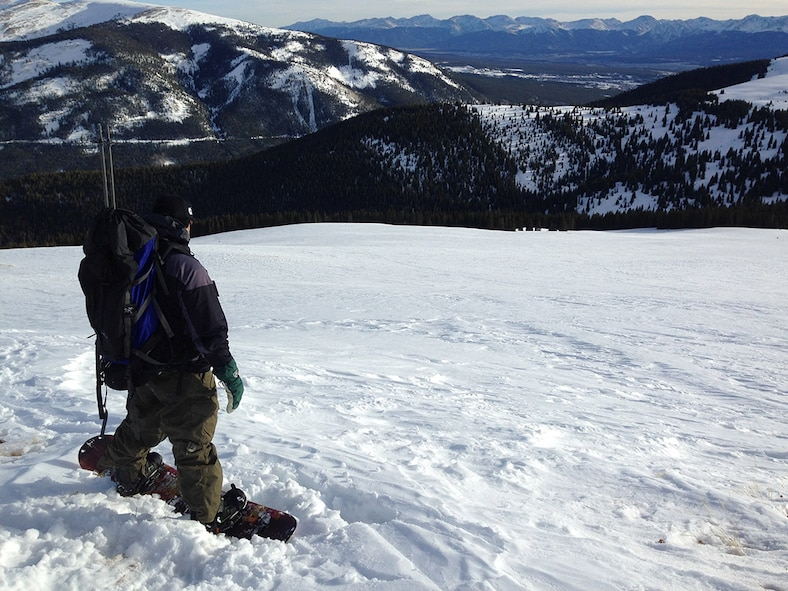 Erik Peterson, a Team Buckley spouse, overlooks Cooper Hill Ski Area, Colo., during a trip to the Sangree Mitchell Froelicher 10th Mountain Division hut. The ODR hosts weekend treks in the backcountry of the Rocky Mountains, which include rental gear and transportation. (Courtesy photo)