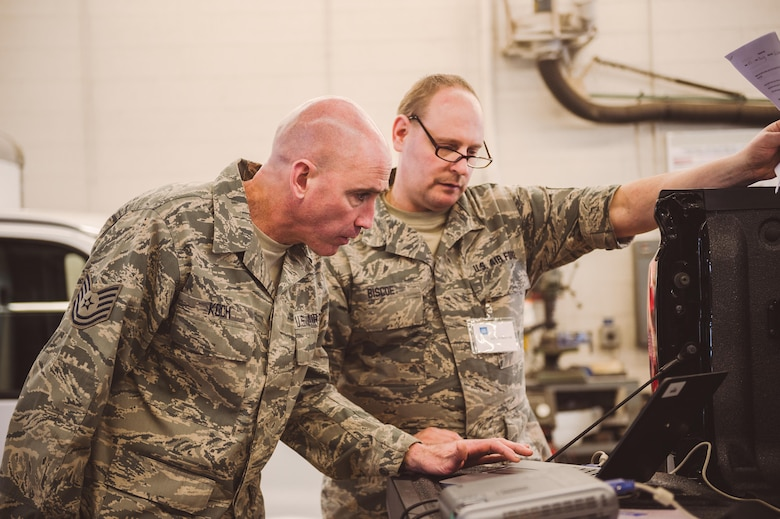 Airmen utilize the latest resources that General Motors and AC Delco regional instructors demonstrated in order to solve training scenarios that will improve their ability to diagnose and repair vehicles at their home units, Niagara Falls Air Reserve Station, N.Y., Feb. 22, 2017. The training was tailored to specifically meet the needs of the Airmen so they could gain new skills on situations they may run into at their home units. (U.S. Air National Guard photo by Staff Sgt. Ryan Campbell)