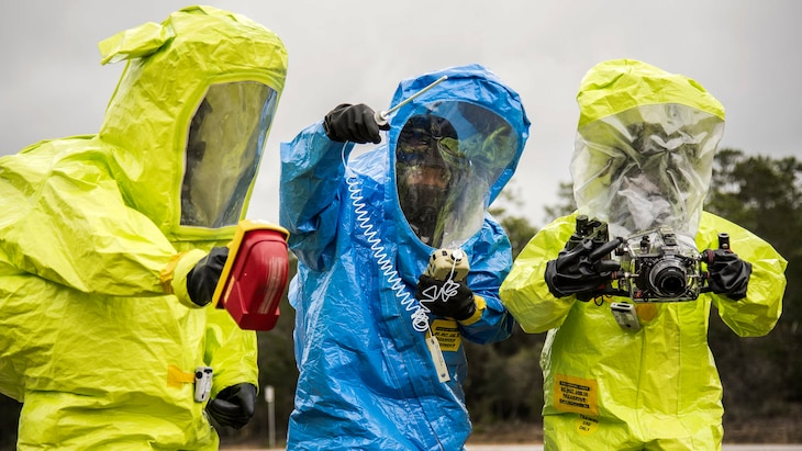 Airmen use instruments to detect hazardous materials during a chemical, biological and nuclear response exercise at Eglin Air Force Base, Fla., Feb. 22, 2017. Air Force photo by Samuel King Jr.