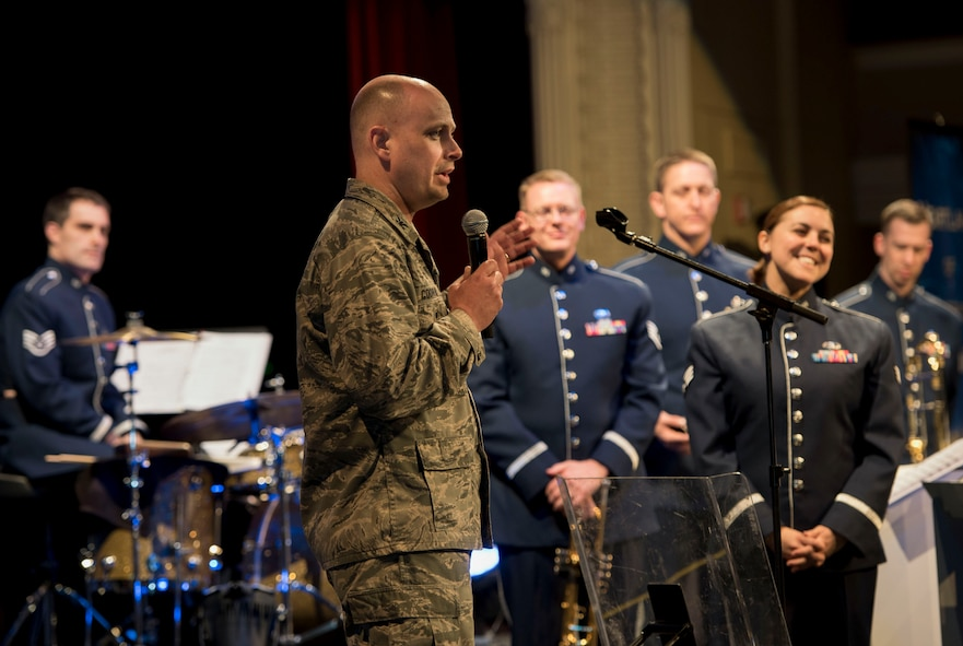 U.S. Air Force Col. Bradley Cochran, the vice commander of the 28th Bomb Wing, introduces Offutt Brass during their performance at the Performing Arts Center Historic Theater in Rapid City, S.D., on Feb. 22, 2017. Offutt Brass is the brass ensemble of the U.S. Air Force Heartland of America Band that performs around the U.S. to celebrate America and patriotism. (U.S. Air Force photo by Airman 1st Class Randahl J. Jenson)