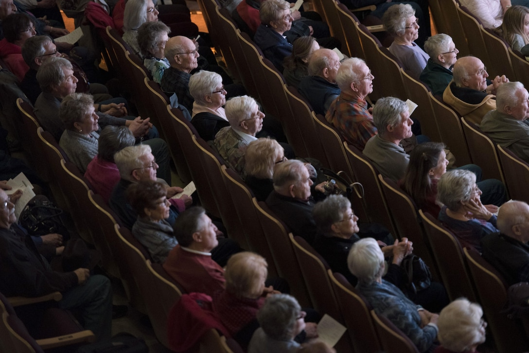 An audience attends a performance from Offutt Brass at the Performing Arts Center Historic Theater in Rapid City, S.D., on Feb. 22, 2017. Offutt Brass is the brass ensemble of the U.S. Air Force Heartland of America Band, and performs around the U.S. to celebrate America and patriotism. (U.S. Air Force photo by Airman 1st Class Randahl J. Jenson)