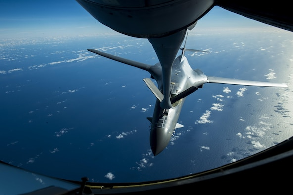 A U.S. Air Force B-1B Lancer assigned to the 9th Expeditionary Bomb Squadron receives fuel from the boom pod of a KC-135 Stratotanker assigned to the 909th Aerial Refueling Squadron during Cope North 2017, Feb. 22, 2017. The exercise includes 22 total flying units and more than 2,700 personnel from three countries and continues the growth of strong, interoperable relationships within the Indo-Asia Pacific Region through integration of airborne and land-based command and control assets. (U.S. Air Force Photo by Senior Airman Keith James)