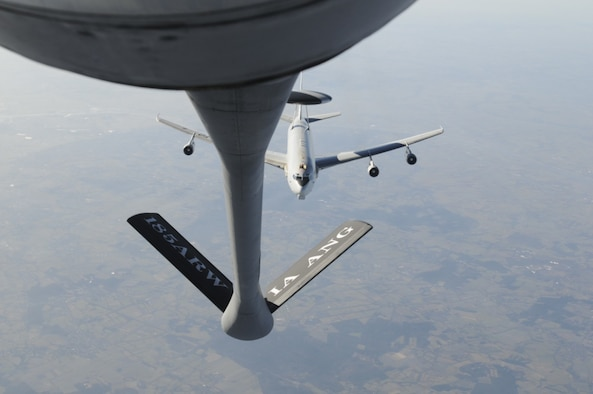 A NATO AWACS lines up with an Iowa Air National Guard KC-135 aircraft for refueling training over northern Germany Feb. 14 2017. Members of the 185th Air Refueling Wing from Sioux City Iowa operate the KC-135 aircraft and are providing fuel for the training of NATO AWACS. (U.S. Air Force photo by  Staff Sgt. Daniel Ter Haar)