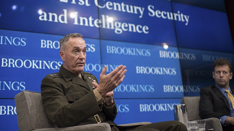Marine Corps Gen. Joe Dunford, chairman of the Joint Chiefs of Staff, speaks at the Brookings Institution in Washington, D.C., Feb. 23, 2017. The Brookings Institution is a nonprofit public policy organization with the mission to conduct in-depth research that leads to new ideas for solving problems facing society at the local, national and global level.